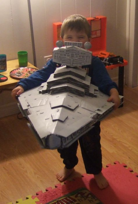 Homemade Cardboard Star Destroyer Makes For a Happy Kid @Lindsay Dillon Dillon B I think Master H neeeeeds this for Halloween.