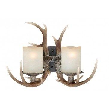 Yoho Two Light Vanity Black Walnut   Rustic Cabin & Lodge Lighting   Antlers Etc - Rustic Cabin, Lodge & Hunting Decor