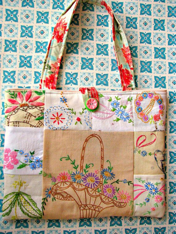 Sweet Vintage Patchwork Embroidery Purse by Bethsbagz on Etsy