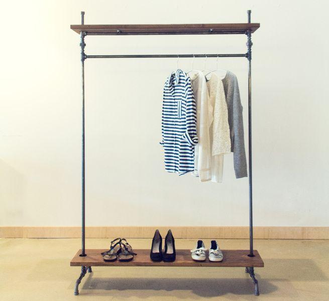 """Garderoben - Kleiderstange """"Industry"""" mit Ablagen 1,5 m - ein Designerstück von fireandsteel bei DaWanda"""