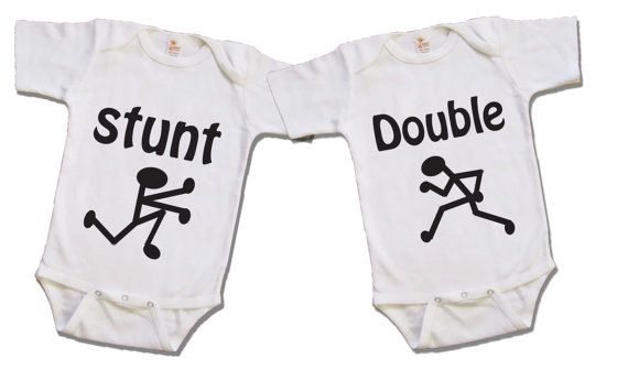 Funny twin shirt  Twin stunt double  Boy or Girl  by Youbabyme, $22.75