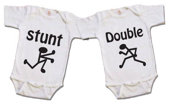 Funny twin shirt  Twin stunt double  Boy or Girl  by Youbabyme, $29.75