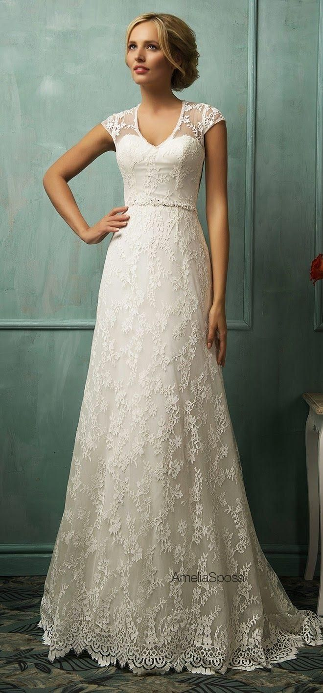 Fabulous  Luxury lace bridal wedding dresses with jewelry belt v neck capped sleeves modest dress brides vestido noiva