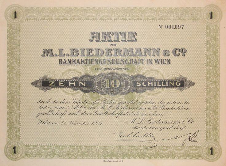 "TOP+rar: Aktie ""M. L. BIEDERMANN & CO. BANKAKTIENGES."" 10 Schilling, Wien 1923"