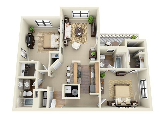 The Ellington 2 Bedroom 2 Bathroom Floor Plan Apartment Design Apartment Floor Plans House Plans