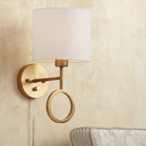 Amidon Warm Brass Drop Ring Plug In Wall Lamp Lamps Plus Open Box Outlet Site Plug In Wall Lamp Plug In Wall Lights Wall Lamp