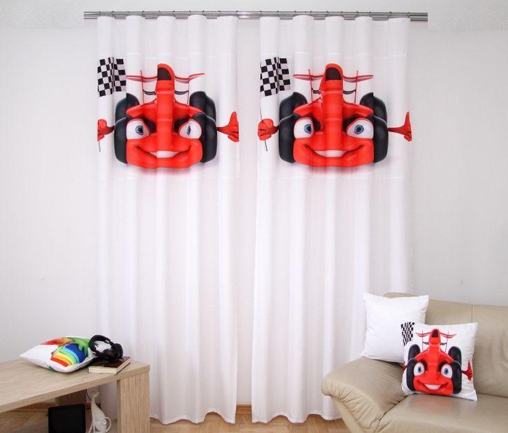 Záves do detskej izby s červeným autom