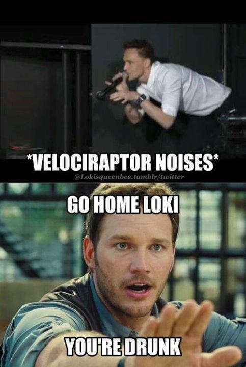 XD<<Memes like this have come sooner than I thought [Tom Hiddleston, Chris Pratt, VelocirapTom, Owen Grady, Jurassic World]