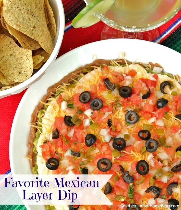 Mexican layer dip - this is the one with the taco seasoning mixed with the sour cream