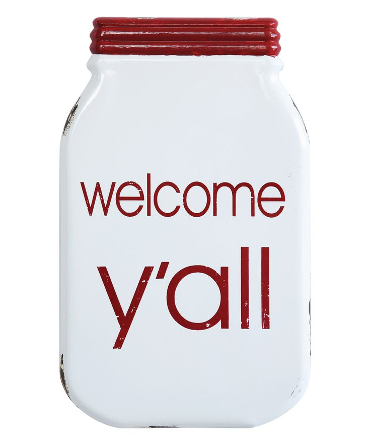 Red 'Welcome Y'all' Mason Jar Sign
