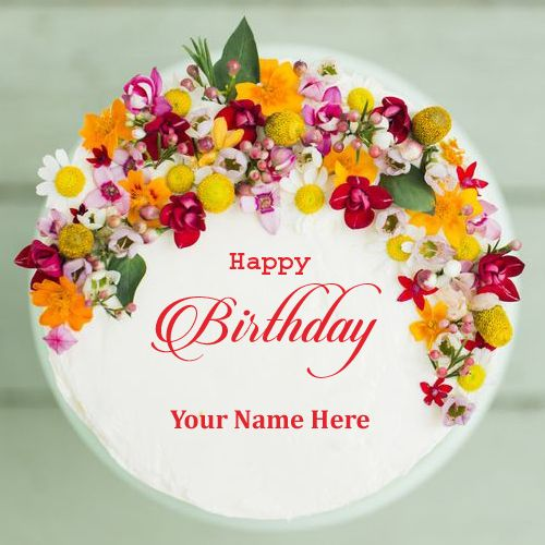 Happy Birthday Colorful Flower Cake With Your Name Print Name On