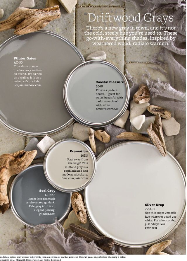 Better Homes & Gardens driftwood grey paint colors for 2015.