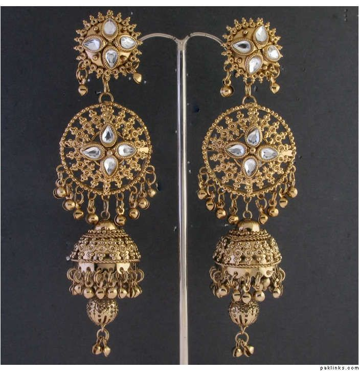 HANDMADE GOLD PLATED~KUNDAN~LONG CHANDELIER EARRINGS