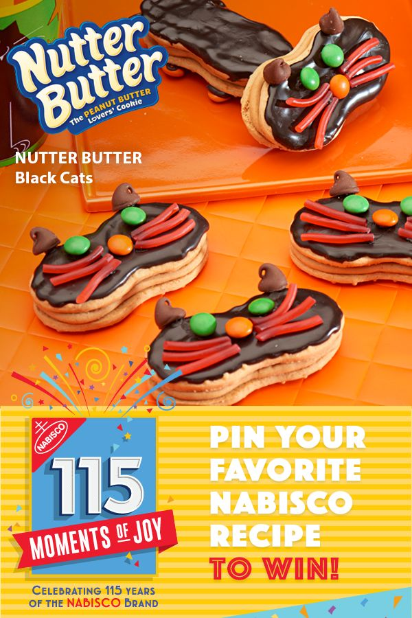 Learn more at www.Nabisco115Moments.com! Pin Your Favorite NABISCO recipe for a chance to win $115…winner every day.  Try this easy NUTTER BUTTER Black Cats recipe and throw a Wicked Potion Party!