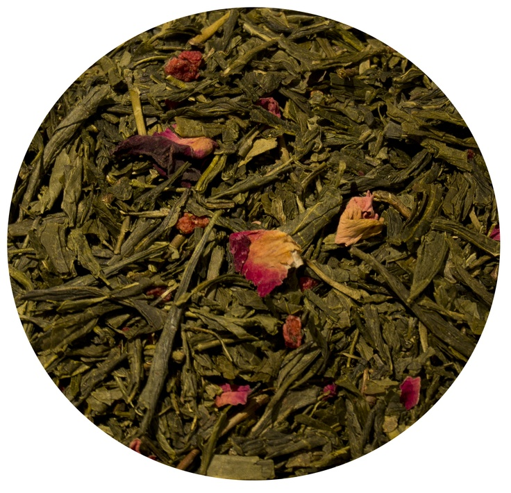 """""""Té Verde Champán y Fresas"""" Té verde con trozos de fresas y pétalos de rosas, un color y un aroma que dan el toque de distinción del champán. 8€ / 100gr."""