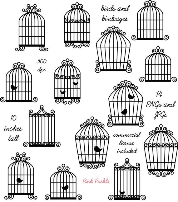 Birdcage Clip Art Clipart, Bird Cage Clip Art Clipart - Commercial and Personal