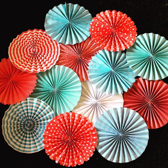 Paper Pinwheel Fans bundle of 8 by FabDetailsEvents on Etsy