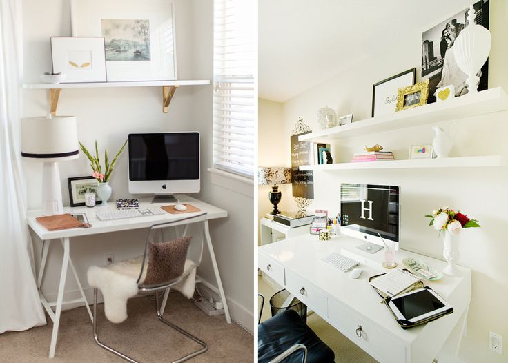 my dream home offices | white shelves, plants, shelves, imac, succulents, white desk, west elm everywhere, colorful rug, cool office chair