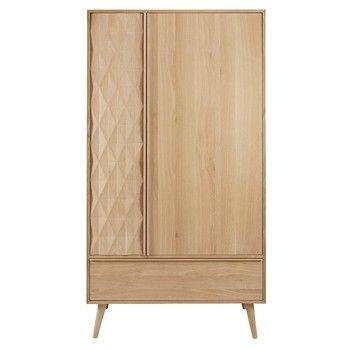 French solid oak 2-door 1-drawer wardrobe - Keops