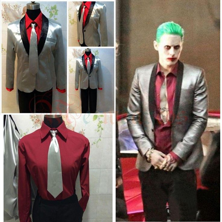 Cool Men Suicide Squad Joker Costume Cosplay Suit Silver Coat Psychos Killers Jacket free shipping