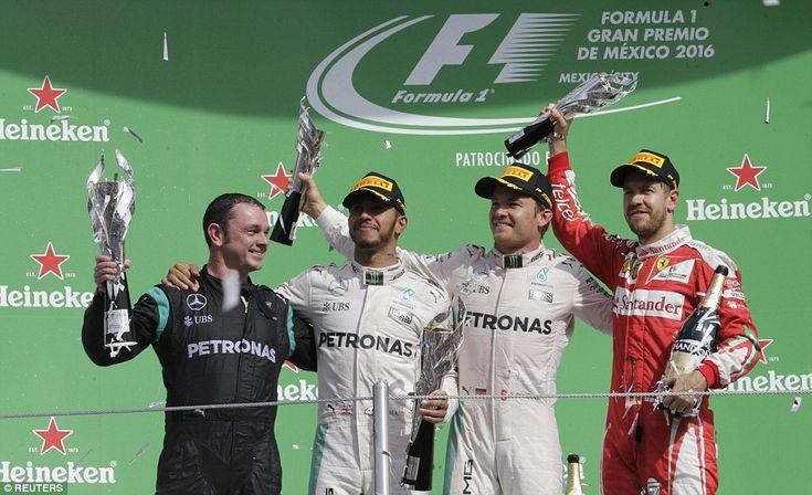 The Mercedes drivers were joined on the Autodromo Hermanos Rodriguez circuit podium by Ferrari's Sebastian Vettel