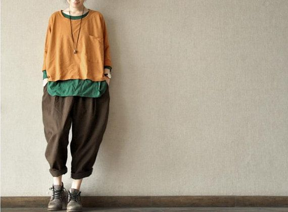 Coffee Lovely Loose Leisure Cotton Pants Casual