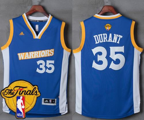 072f16fb4 Warriors  35 Kevin Durant Royal Stretch Crossover The Finals Patch Stitched  NBA Jersey