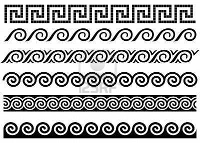 Meander and wave. Ancient Greek borders. Set of ornaments.