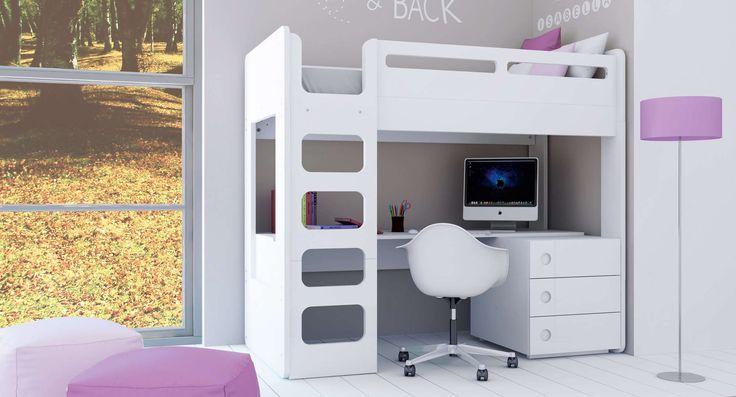 Colecci n orbit alondra litera con escritorio para ni os for Habitaciones para ninas con literas