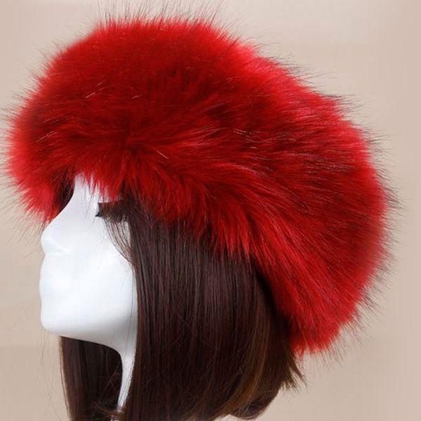 Women Russian Faux Fluffy Fox Fur Hat Head Ring Winter Spring Tick Warm Cap Head Warm Cap Fur Hat Faux Fur Hat
