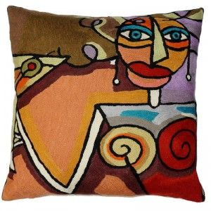 Contemporary Throw Pillows – Picasso Martini Woman, Evening