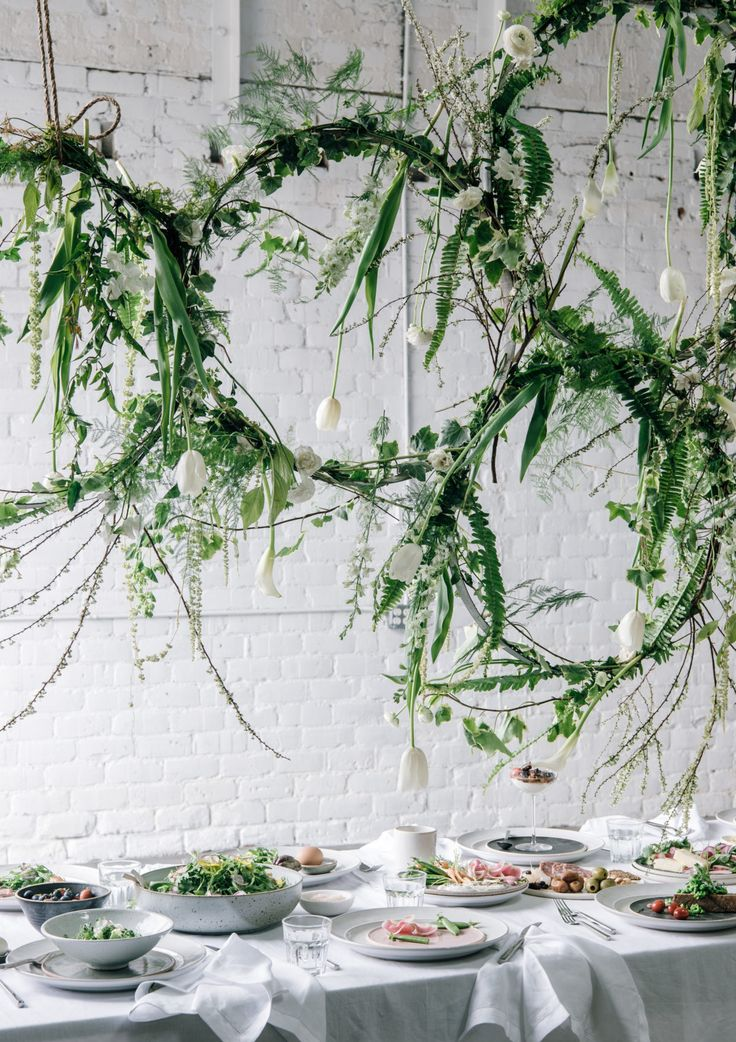 greenery floral installation for spring brunch via @citysage