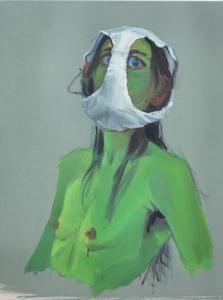 Autoportrait au slip II    Childress, Nina   2012 huile sur toile 61 x 46 cm