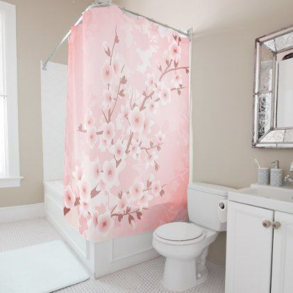 #personalize - #Coral Pink Cherry Blossoms Classic Shower Curtain