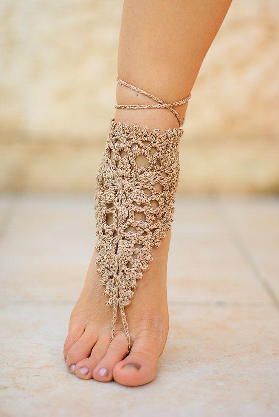 SALE 3  1 Bridal Foot jewelry  Beach wedding Beige by ZHAVI
