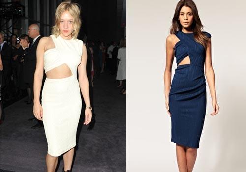 fotografía de Chloë Sevigny con un vestido Cut Out de la marca Versus, que suelen rondar entre las tres o cuatro cifras, pues bien, encontramos un modelo igual en Asos por ¡33.94 €!