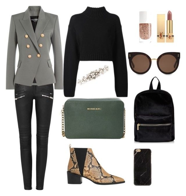 """For a day"" by fpantopikou on Polyvore featuring Whistles, Balmain, DKNY, MICHAEL Michael Kors, STELLA McCARTNEY, Yves Saint Laurent and Dolce&Gabbana"