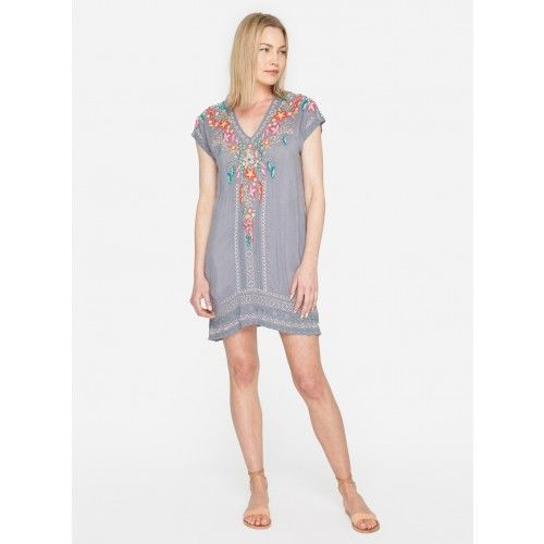 Letty Tunic The Johnny Was LETTY TUNIC is the epitome of easy, breezy style. This soft rayon slip-on top is inspired by patterns and motifs from the Mediterranean with its bold geo and floral embroidery pattern. The sleeveless style with an A-line silhouette would be perfect with everything—from topping a bathing suit to dressier affairs under a tailored jacket.  —Rayon —Signature embbroidery —V neck —Slight A-line —Care instructions: Dry clean suggested