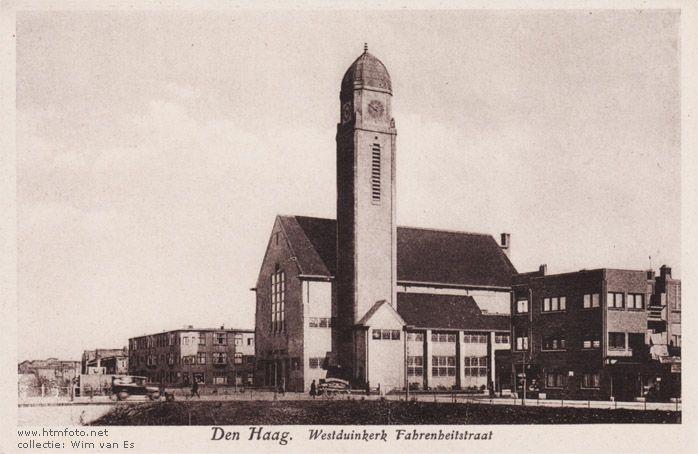 Westduinkerk Fahrenheitstraat, voor de oorlog. Hier vierden wij Kerst met school. Nu staat Albert Heijn op deze plek.