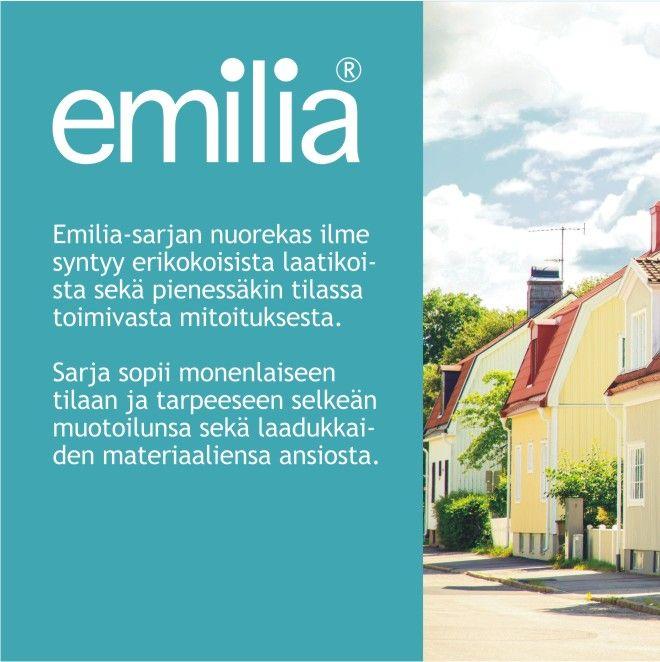 EMILIA® -huonekalusarjan nuorekas ilme syntyy vetiminä toimivista aukoista, erikokoisista laatikoista sekä pienessäkin tilassa toimivasta mitoituksesta. Laulumaa Huonekalut