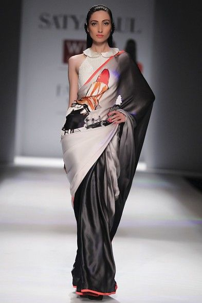 Ombre Grey Embellished Digital-Print Lipstick Satin Saree