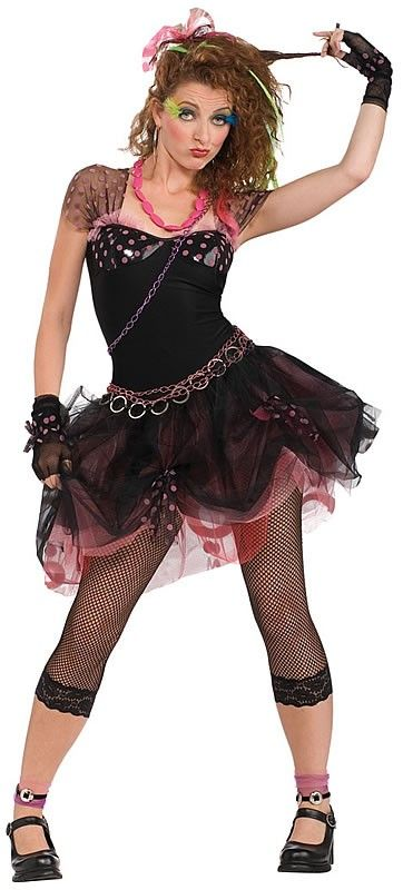 Head back in time to the funky 80's with this sexy Madonna style fancy dress costume for women.