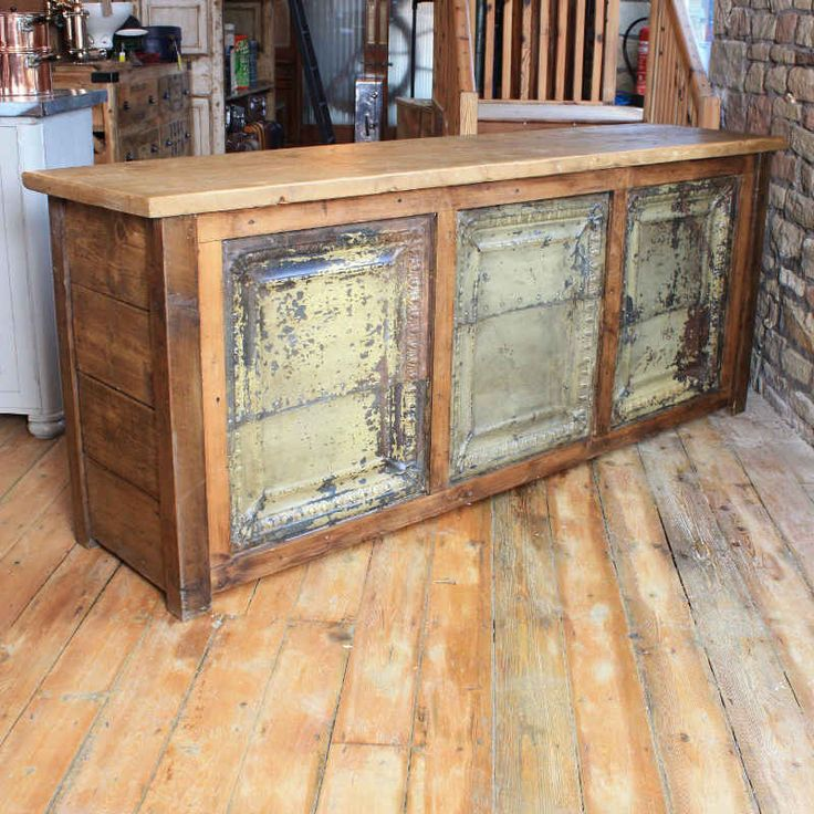 Rustic Style Reclaimed Pine Counter, Featuring A Frontage Comprising Of  Three Large Distressed Tin Tiles. The Unit Has An Open Back With A Shelf Anu2026