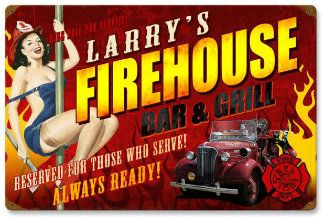 Personalized Firehouse Bar & Grill Vintage Metal Sign
