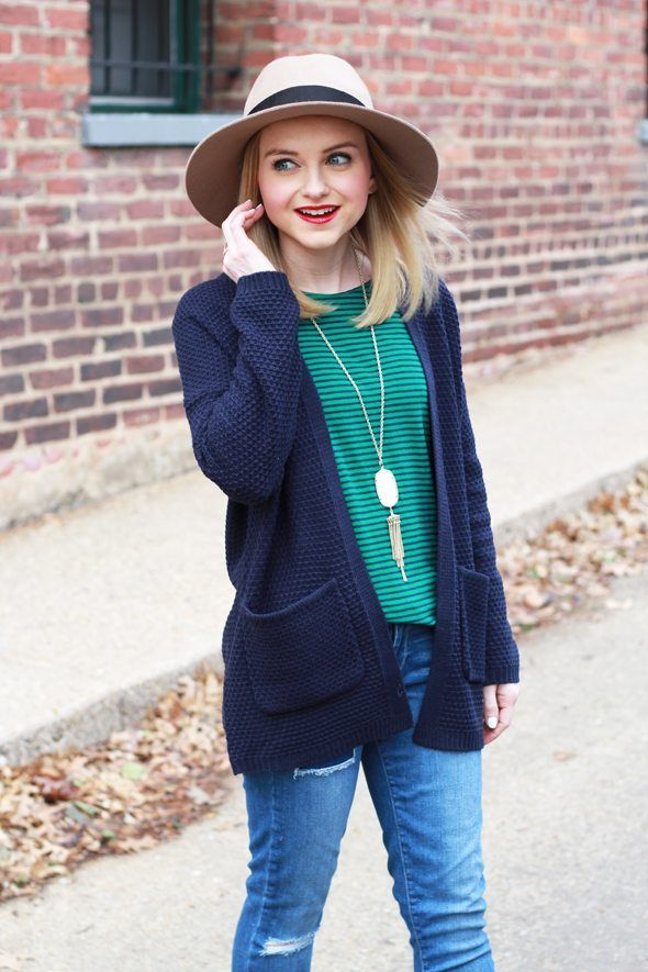 53a48518527 Poor Little It Girl - Navy Cardigan and Green Stripes