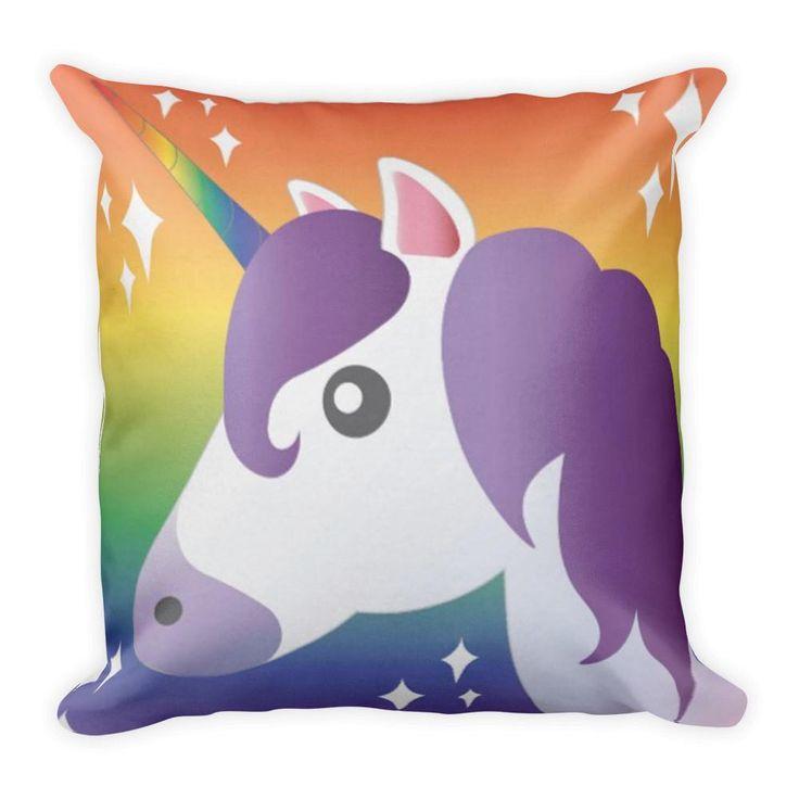 Pillow Purple Unicorn Emoji Sparkle with Rainbow Pillow