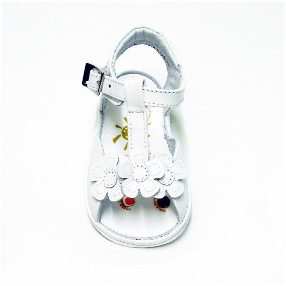 Huaraches De Piel Para Bebé Mini Burbujas Niña 12082 Blanco
