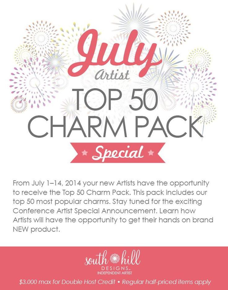 If you join my team between July 1-14 and purchase the 199.00 kit you can get the top 50 Charm pack.