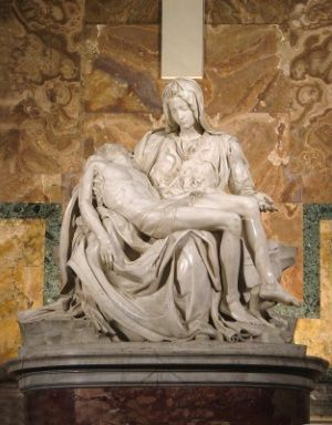 The Pieta by Michelangelo. Art meets faith, the symbolism is beautiful.