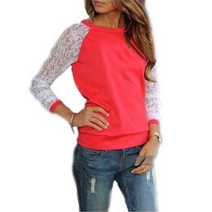 Lace Blouses Shirts Women Long Sleeve Blouse Blusa Feminina shirt Blouse Tops Solid O Neck Casual Shirts 5 Colors